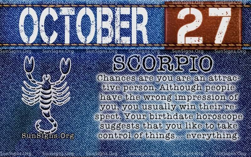 october 27 scorpio birthday calendar