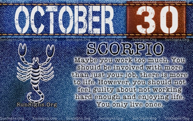 october 30 scorpio birthday calendar