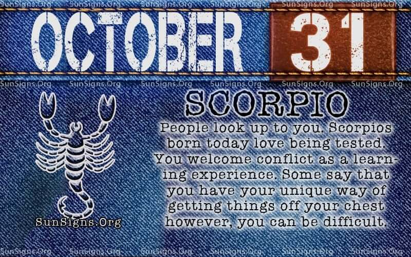 october 31 scorpio birthday calendar
