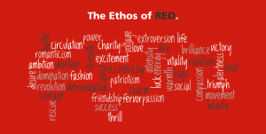 Red is typically associated with blood so it is more likely to be associated with anger or violence