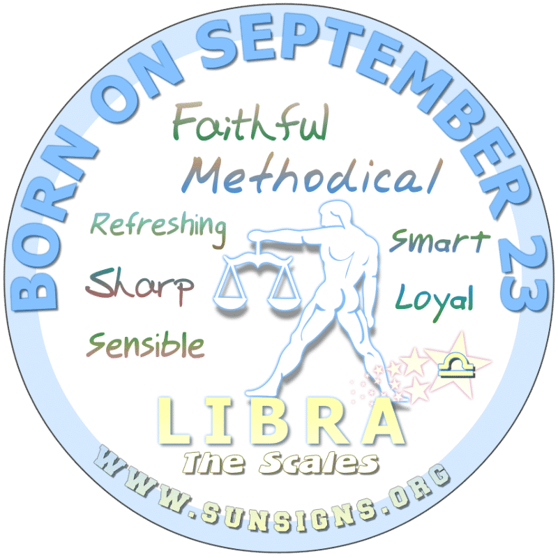 IF YOUR BIRTHDAY IS September 23rd, it is likely that you are vain. This Libra zodiac sign person works hard. You like being on the go and being active although you tend not to like routine or planned vacations. You are flexible but you must learn to control your temper.