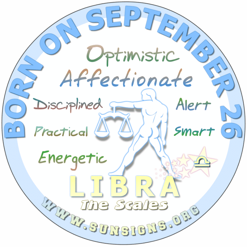 IF YOUR BIRTHDAY IS September 26th, you are a positive individual but you can be moody. You could be a raging Libra but instead, you are with the
