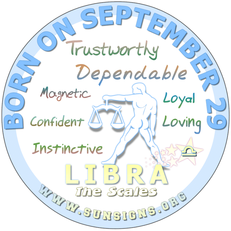 IF YOU ARE BORN ON September 29th, you could be a human magnet, as people just want to be in your company. Some are even a tad bit jealous. You birthday characteristics show that you are radiant and confident. At times, this Libra can unpredictable and misunderstood.