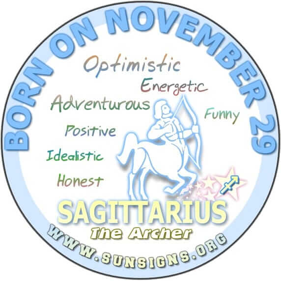 IF YOUR BIRTH DAY IS NOVEMBER 29, you are a Sagittarius who is optimistic, energetic, and adventurous.