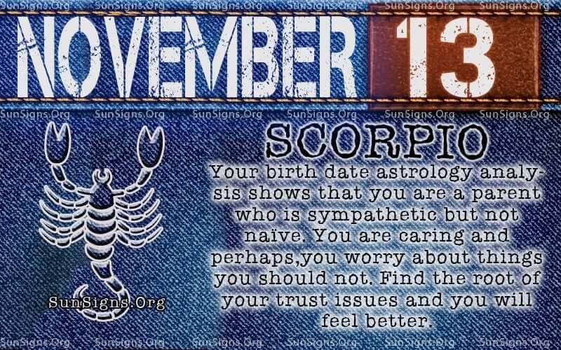 november 13 scorpio birthday calendar
