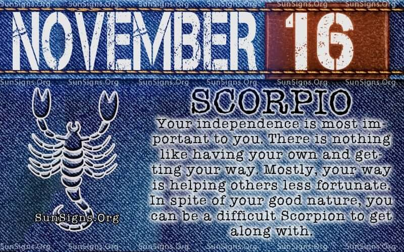 november 16 scorpio birthday calendar