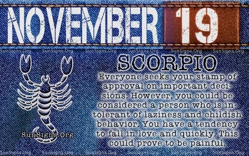 november 19 scorpio birthday calendar