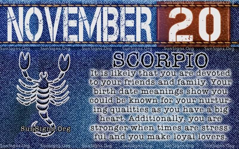november 20 scorpio birthday calendar