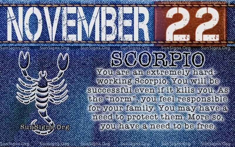 november 22 scorpio birthday calendar
