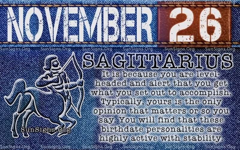 november 26 sagittarius birthday calendar