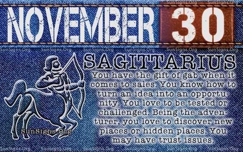 november 30 sagittarius birthday calendar