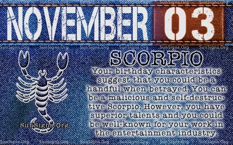 november 3 scorpio birthday calendar