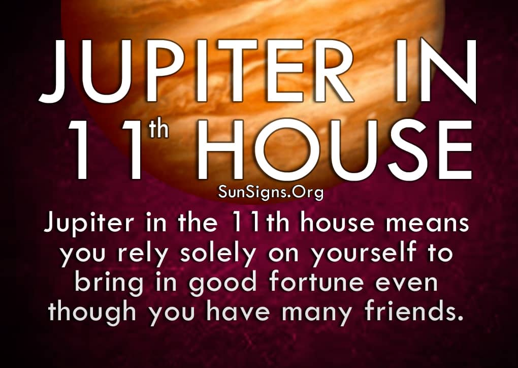 Jupiter In 11th House. Jupiter in the 11th house means you rely solely on yourself to bring in good fortune even though you have many friends.