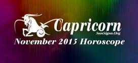 November 2015 Capricorn Monthly Horoscope
