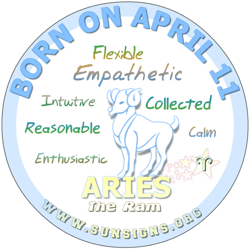IF YOU ARE BORN ON April 11th, you are an open minded Aries. You're cool, calm and collected. These qualities make you responsible leaders. In love, you could very well be spontaneous and affectionate. Your birthday horoscope predicts that you have a talent for managing your finances as you are practical.