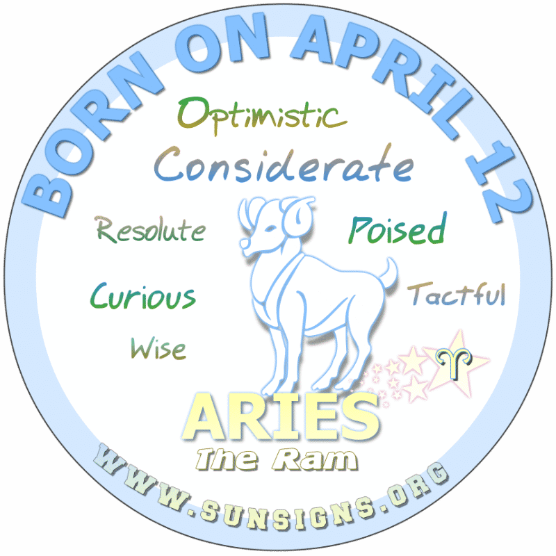 IF YOUR BIRTH DAY IS ON April 12th, you are one cool and curious Aries. You stay busy and have many admirers. Your relationships are built on trust. Those born on this day make awesome parents. Typically, you don't like predictability and would be a stimulating lover.