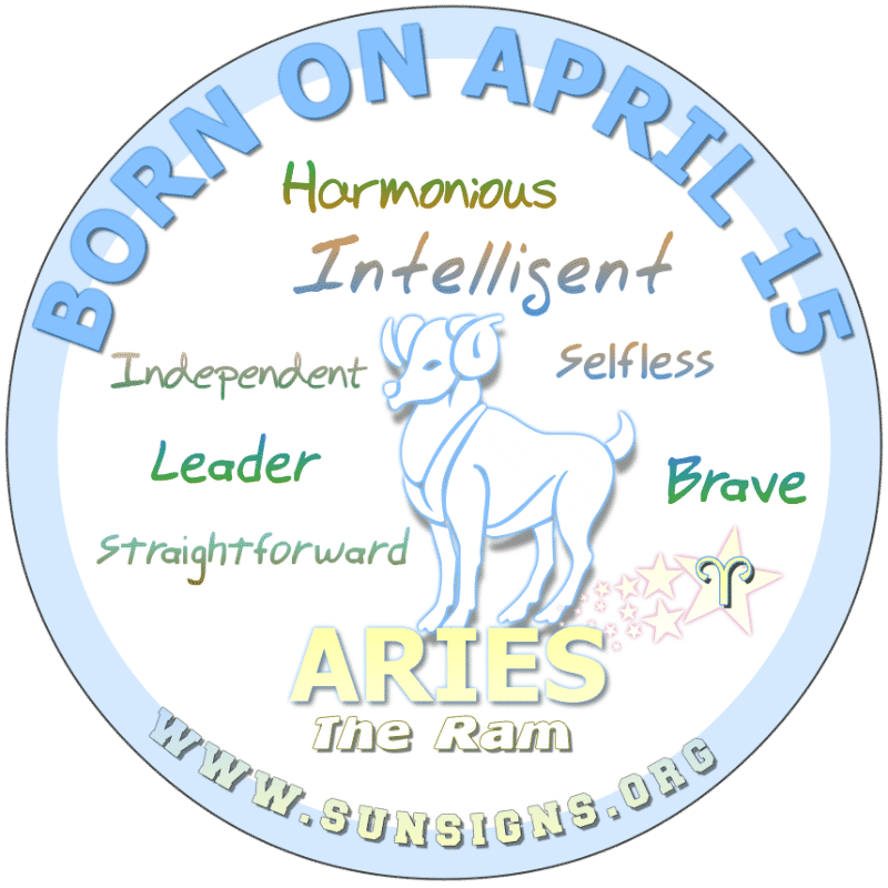 IF YOU ARE BORN ON April 15th, you are not a shy individual. Aries are people who speak their minds even in public. Otherwise, uncomplicated, you deal with situations instead of complaining. You are not typically the authoritative parent but want to be loved and respected.