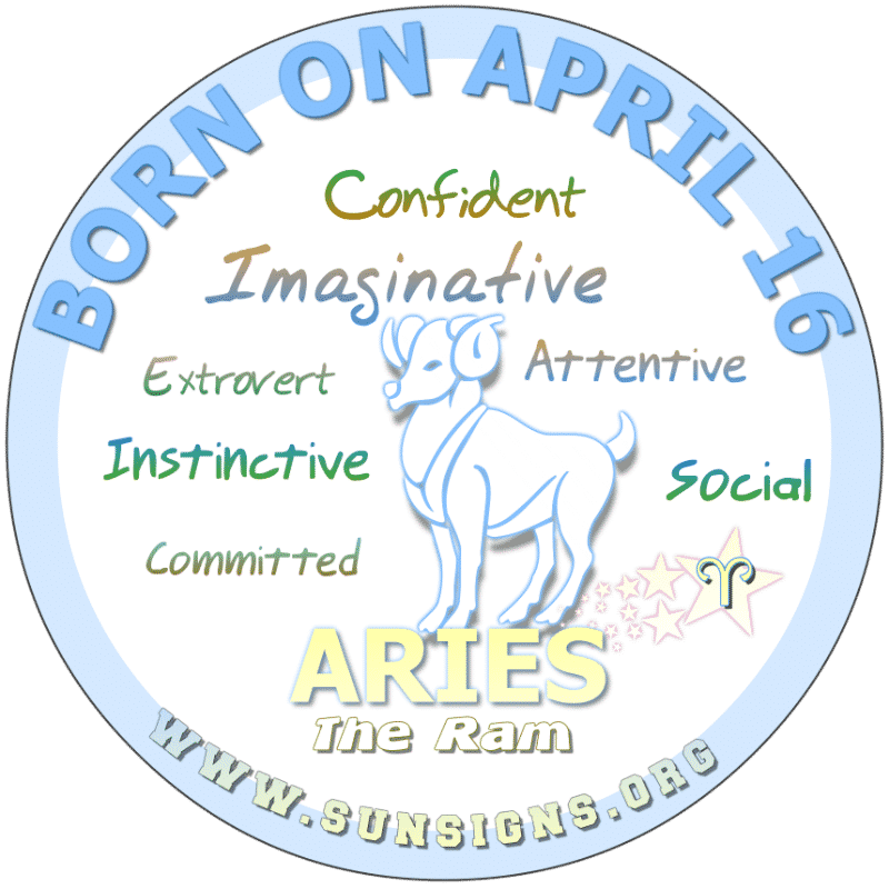 IF YOU ARE BORN ON April 16th, you are an outgoing Arian. You are a sociable individual with a humorous side. Typically, your birthday meanings show that you have good instincts and are unbiased. You look for friendship qualities in a love interest but it's sometimes hard to get close to you.