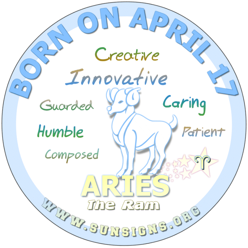 IF YOU ARE BORN ON April 17th, you are likely to be a great leader but often take yourself too seriously. This Aries birth date person is humble and responsible who cares about others. In love, you are quick to make a compromise. You have good money management skills.