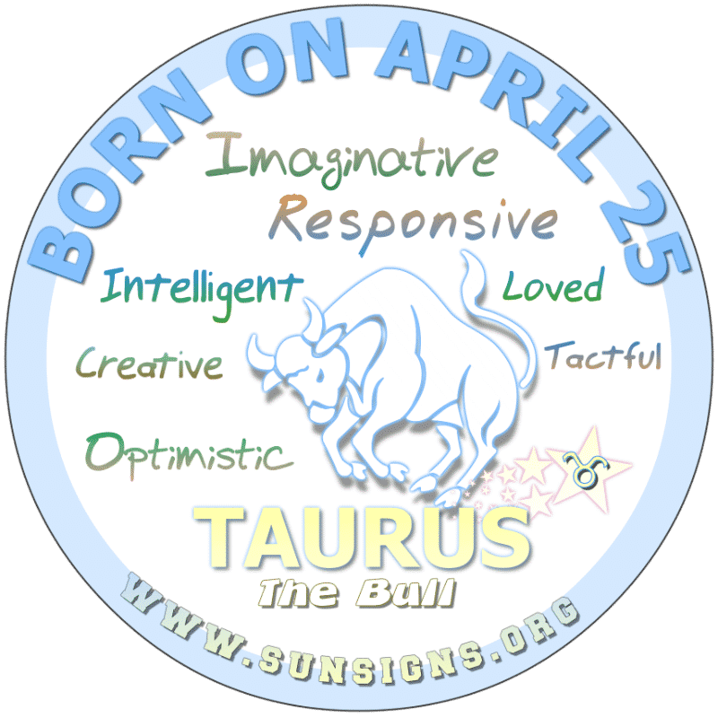 IF YOUR BIRTH DATE IS April 25th, you are an unique Taurus – The Bull. However, you do not need to be the center of attraction. Most born on this birth day, have an imagination that typically runs in overtime. You are musically inclined, also.