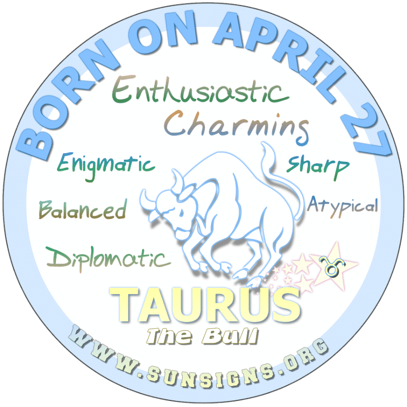IF YOUR BIRTHDAY IS ON April 27th, you are a Taurus who is emotionally stable but extremely observant. Additionally, you are smart and make a good friend. Not shy people, you speak with confidence. You have modern traditions that you will pass on to your children.