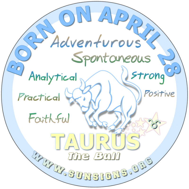 IF YOUR BIRTHDAY IS ON APRIL 28th, you are a Taurus with an analytical mind. Although opinionated, your spirit can be restless and in need of some excitement. You love life and exploring its beauty. On the other hand, you can be dominating and withdrawn.