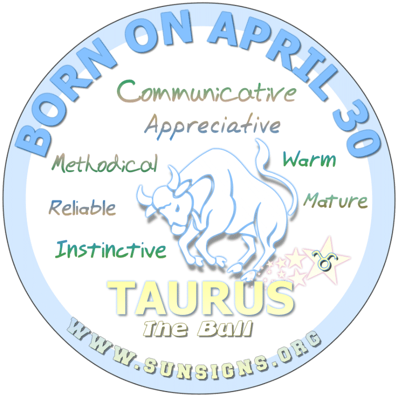 IF YOU ARE BORN ON APRIL 30th, you can be a risk taker. Taurus birthdays typically are mature but can be moody individuals. Close to your family, you can be a disciplinarian. Whatever career path is taken, you are likely to be successful. You possess good instincts.