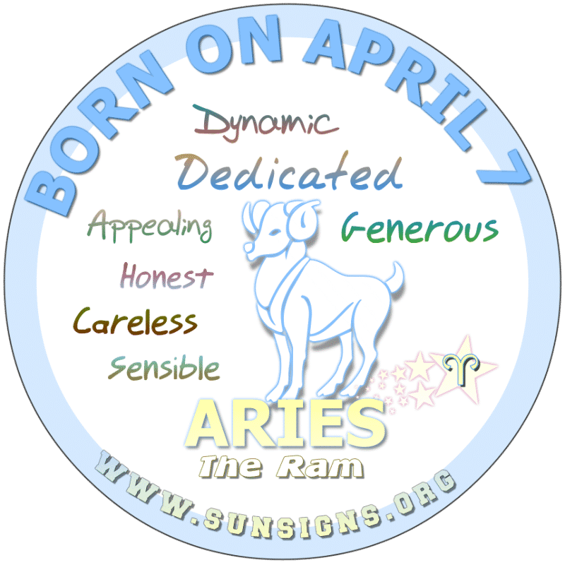 IF YOU ARE BORN ON April 7th, you like to be in control of whatever you are doing. Your birthdate astrology predicts that you worry too much but are likely to lose things. Otherwise, Aries, you have a vibrant personality. People are drawn to you and your charm. However, you can be idealistic.