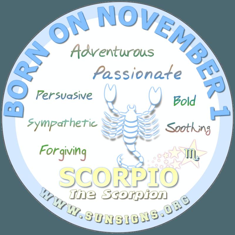 november 1 zodiac sign Scorpio