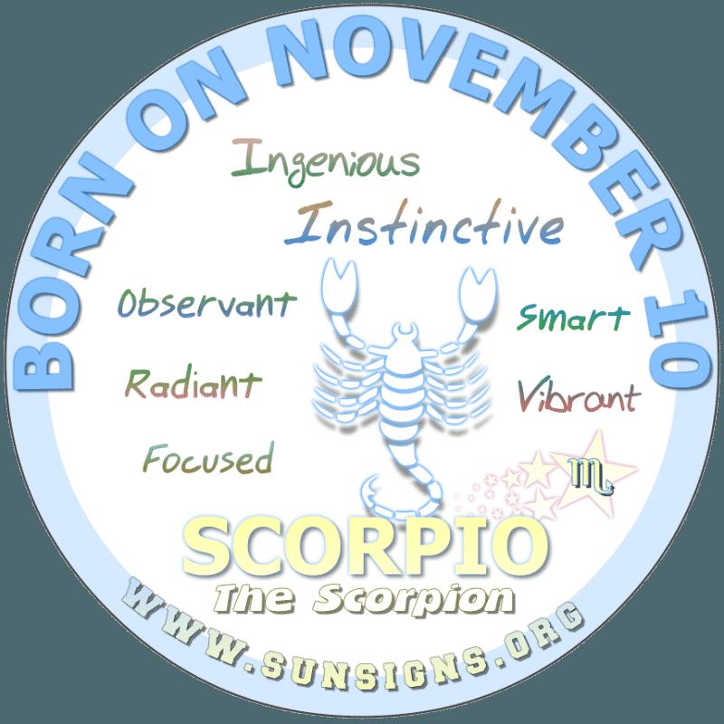 november 10 zodiac sign Scorpio
