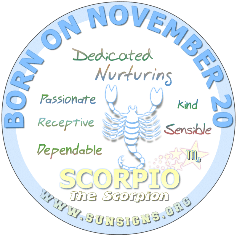 november 20 zodiac sign Scorpio