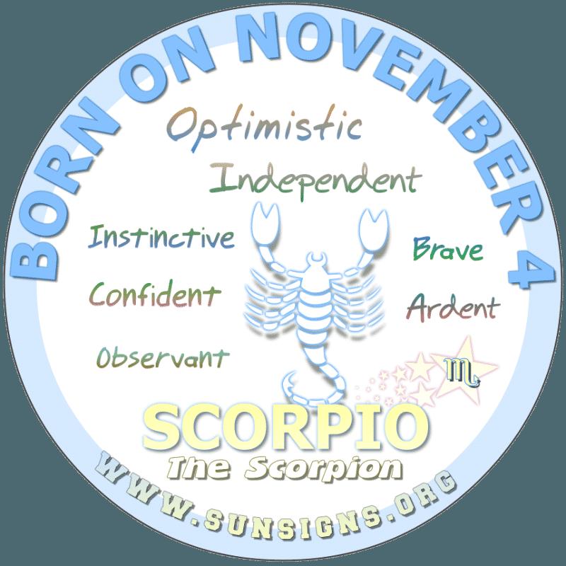 november 4 zodiac sign Scorpio
