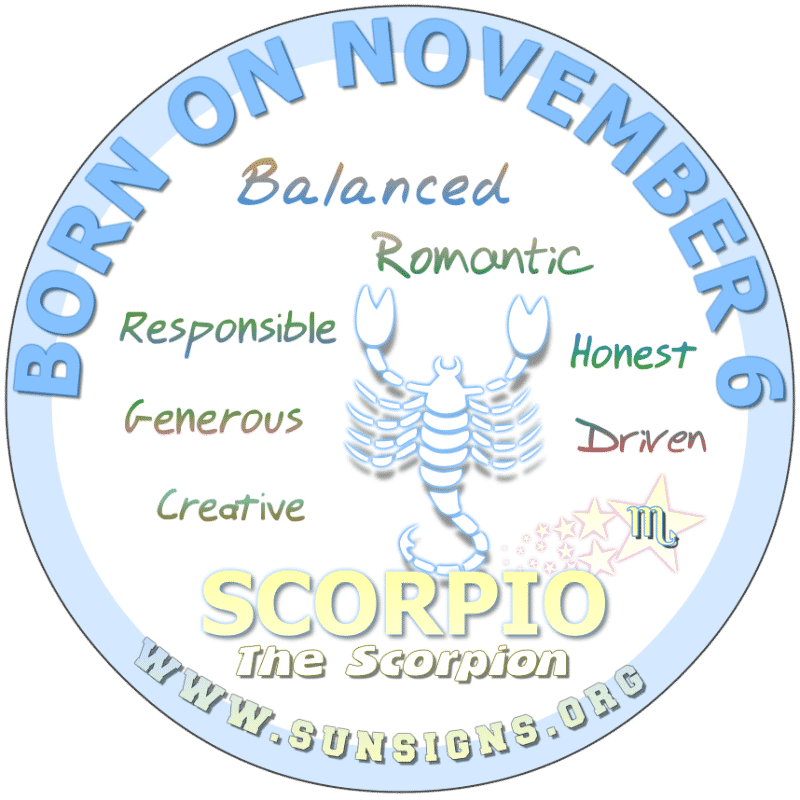november 6 zodiac sign Scorpio