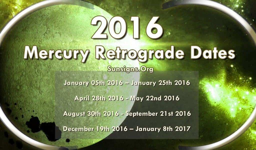 2016 Mercury Retrograde Dates