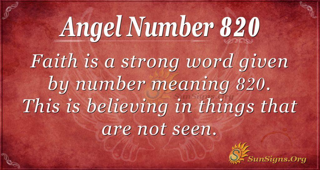 angel number 820