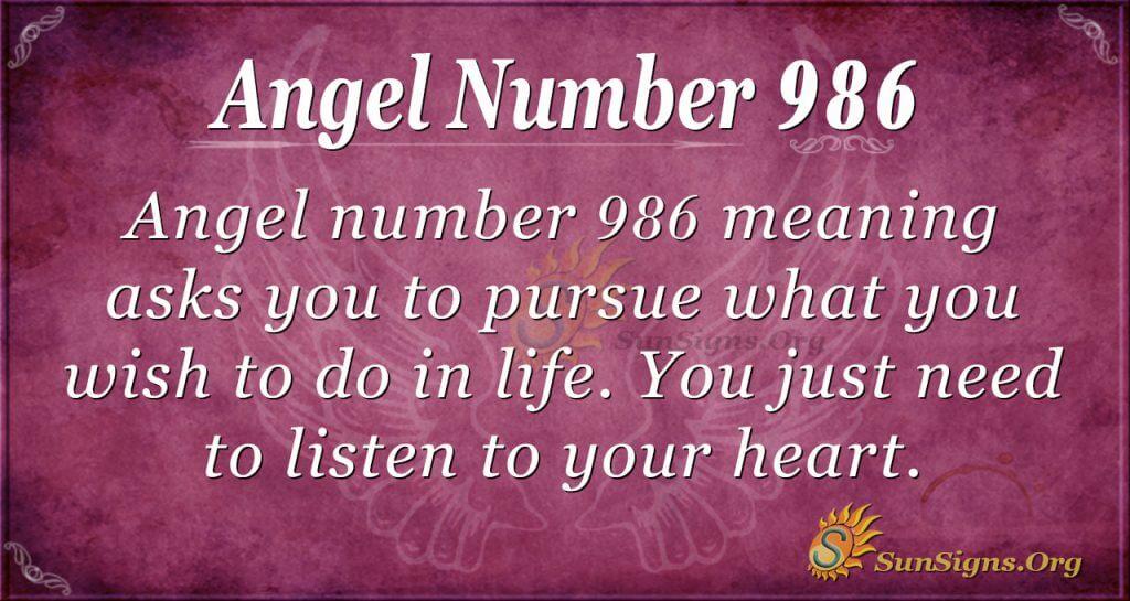 angel number 986
