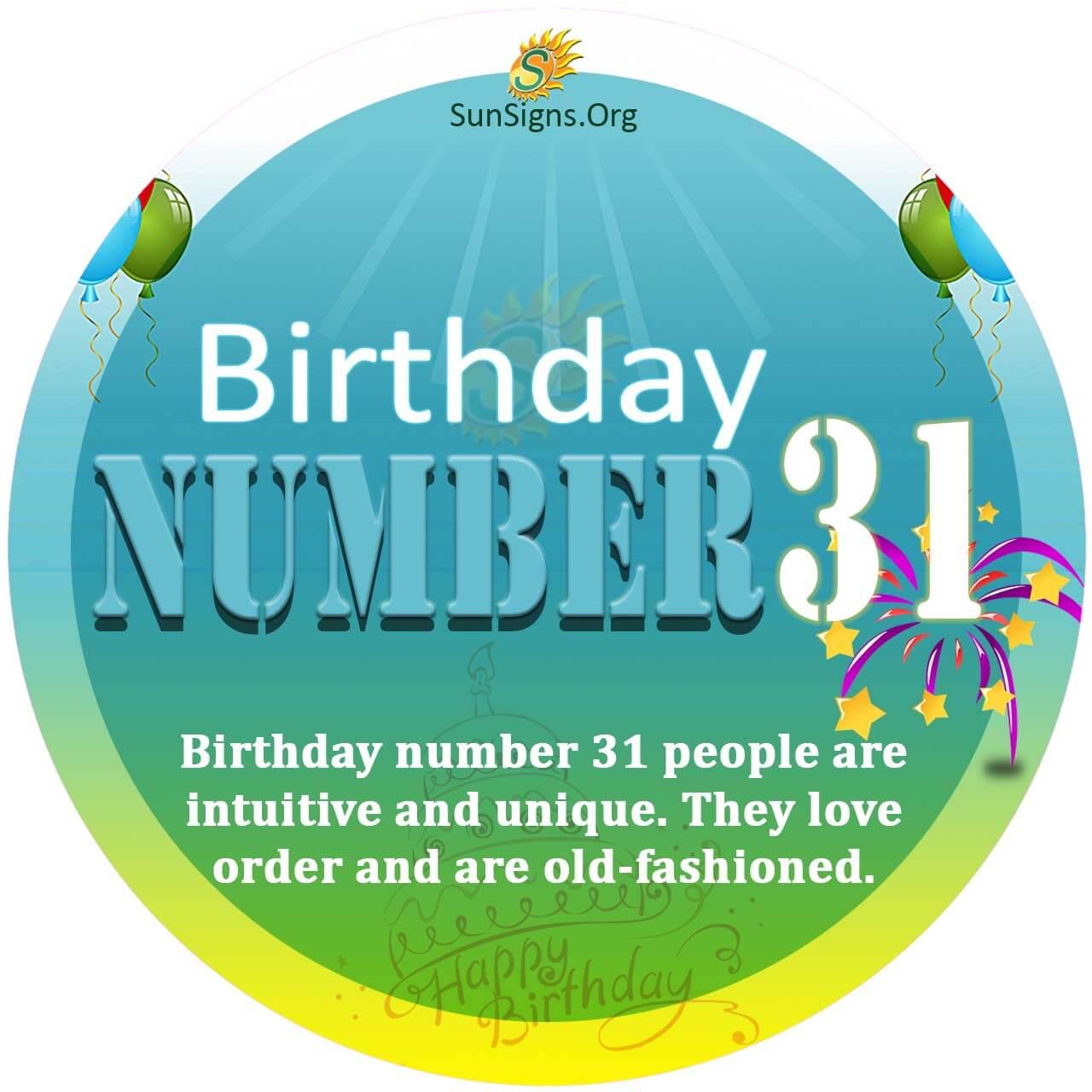 Birthday Number 31