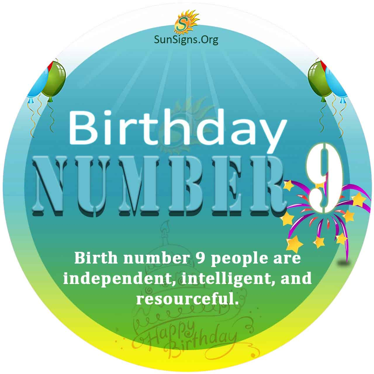 Birth Day Number 9 potentials