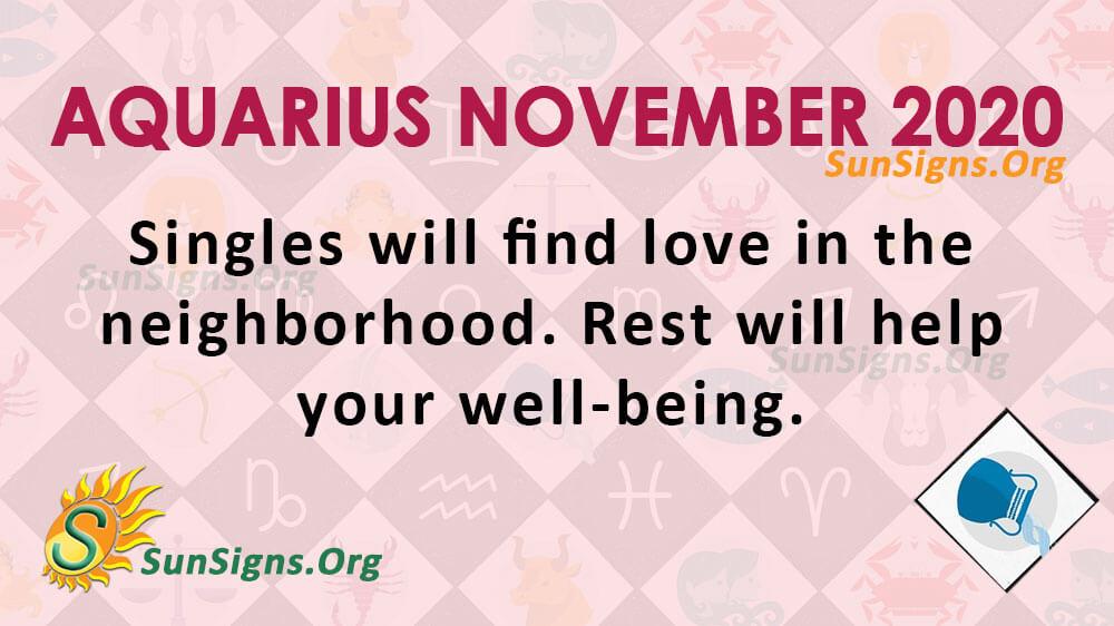 Aquarius November 2020 Horoscope