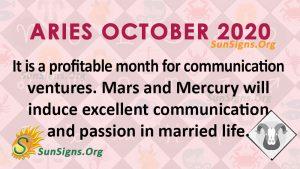 Aries October 2020 Horoscope