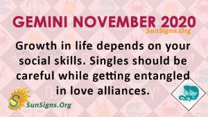 Gemini November 2020 Horoscope