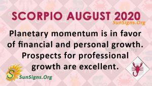 Scorpio August 2020 Horoscope